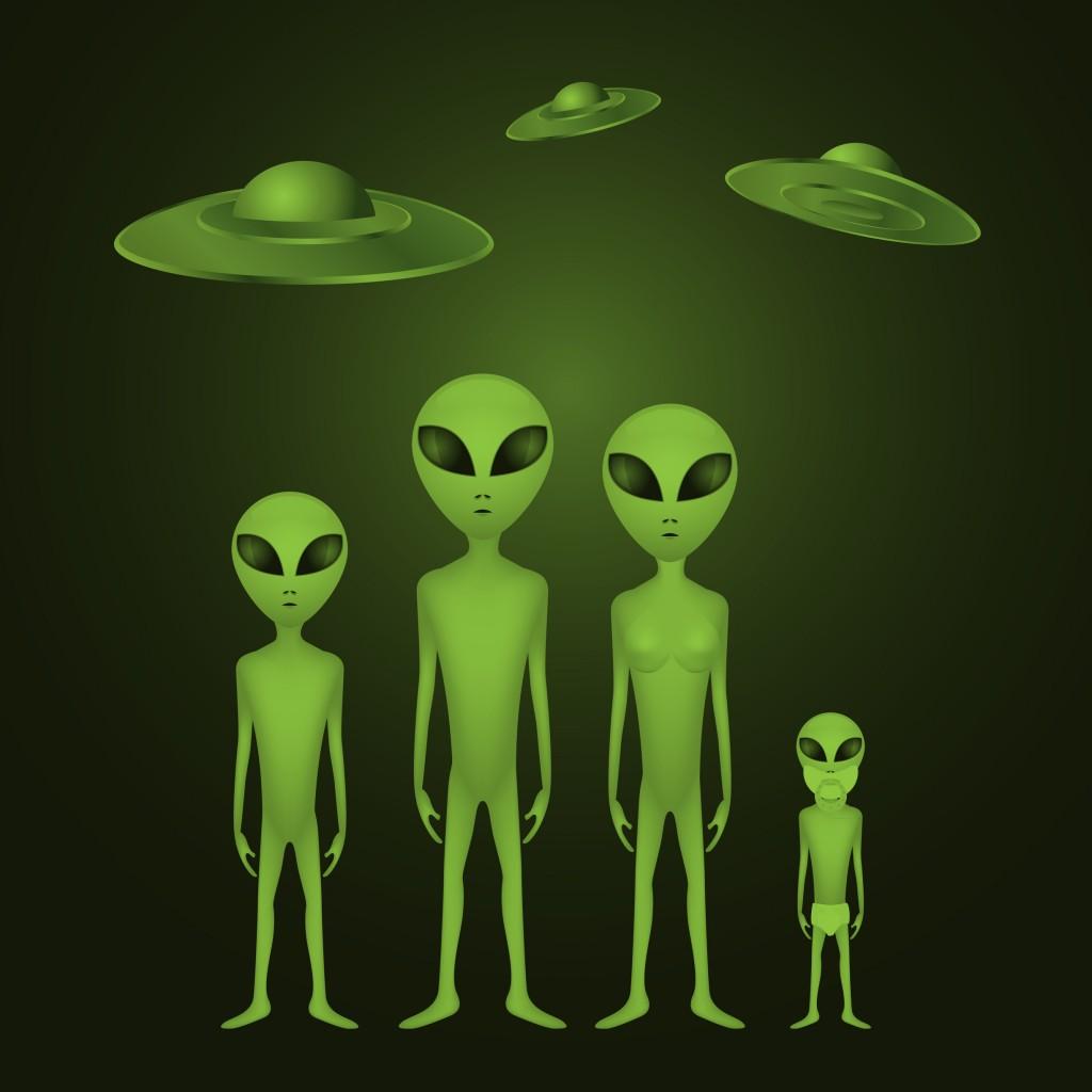Whole alien family - illustration