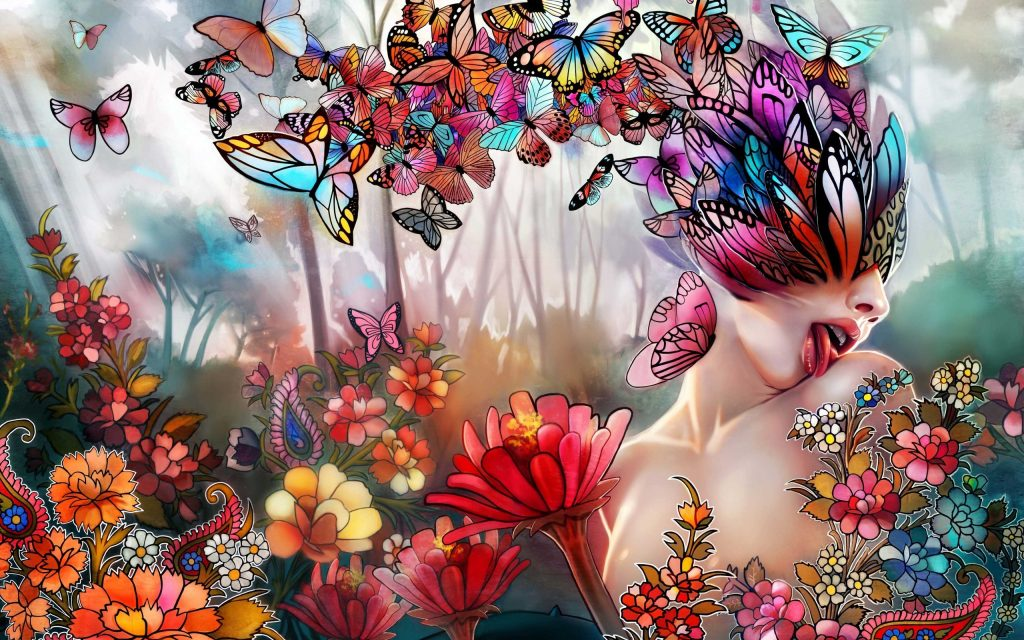multicolor-butterfly-and-floral-woman