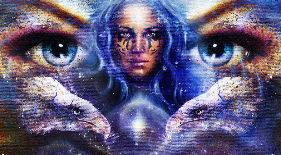 goddess-woman-with-ornamental-tattoo-on-face-in-space-and-light-stars-with-eagles-head-eyes-woman-eye-contact-jozef-klopacka