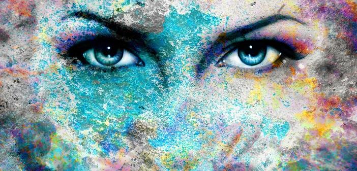 Blue goddess women eye, multicolor background. eye contact